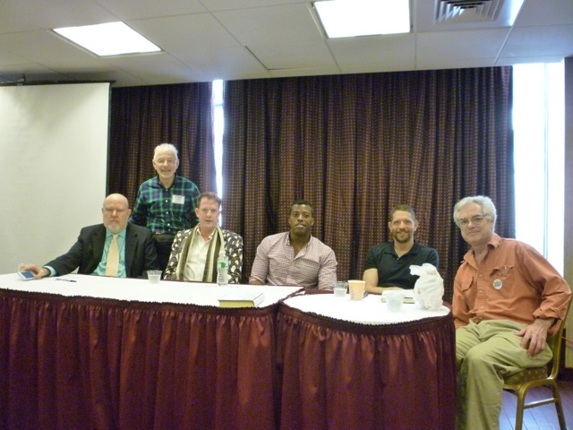 RBF7_Memoir Panel: L to R: David Carter (moderator), Perry Brass (introduced David), Jamie Brickhouse, Rob Smith, Brad Gooch, and David Margolick